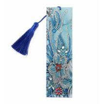 Gyémántkirakós könyvjelző kék virágos