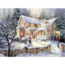 Gyémántkirakó készlet - Havas ház hóemberrel
