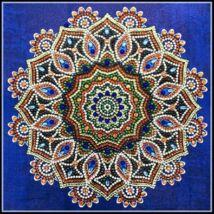 Gyémántkirakó készlet - Mandala kék háttérrel (eltérő formájú kövekkel)