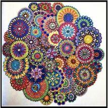 Gyémántkirakó készlet - Virág formájú mandala (Eltérő formájú kövekkel)