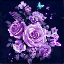 Gyémántkirakó készlet - Lila rózsák