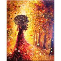 Számfestő - Piros ruhás lány őszi tájban
