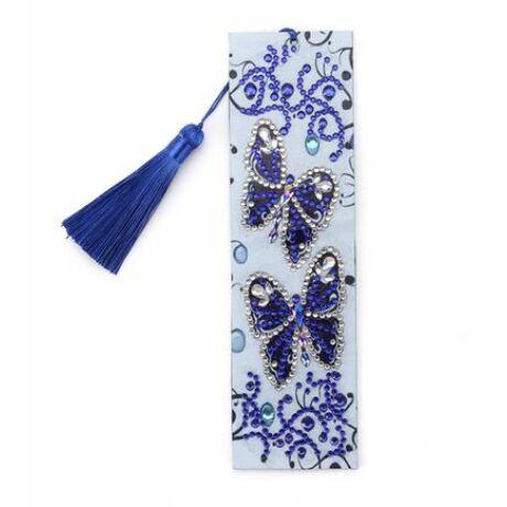 Gyémántkirakós könyvjelző kék pillangós