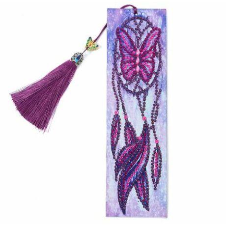 Gyémántszemes kirakós könyvjelző lila pillangós