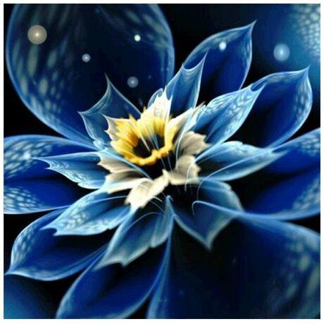 Gyémántkirakó készlet - Fantasy flower kék-sárga