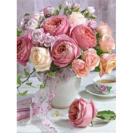 Gyémántkirakó készlet - Pünkösdi rózsacsokor