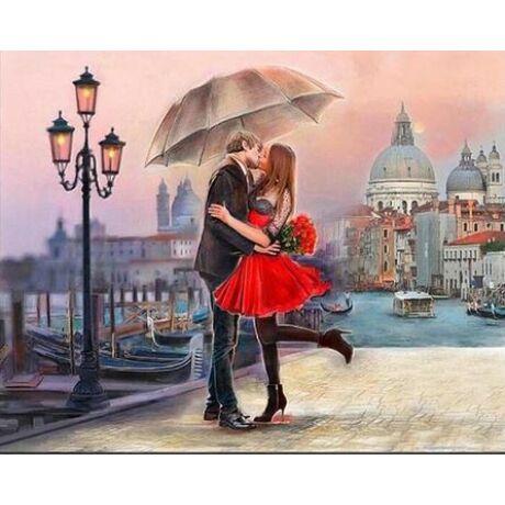 Számfestő - Csókolózó pár esernyővel