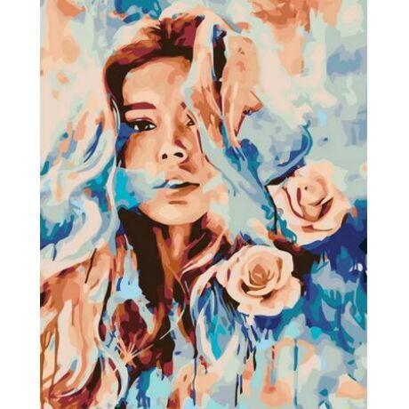 Számfestő - Lány rózsákkal